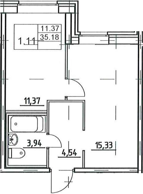 2-к.кв (евро), 39.12 м²