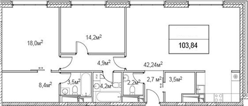 3Е-комнатная, 103.84 м²– 2