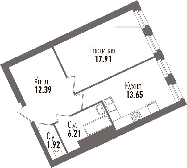 1-к.кв, 52.08 м²