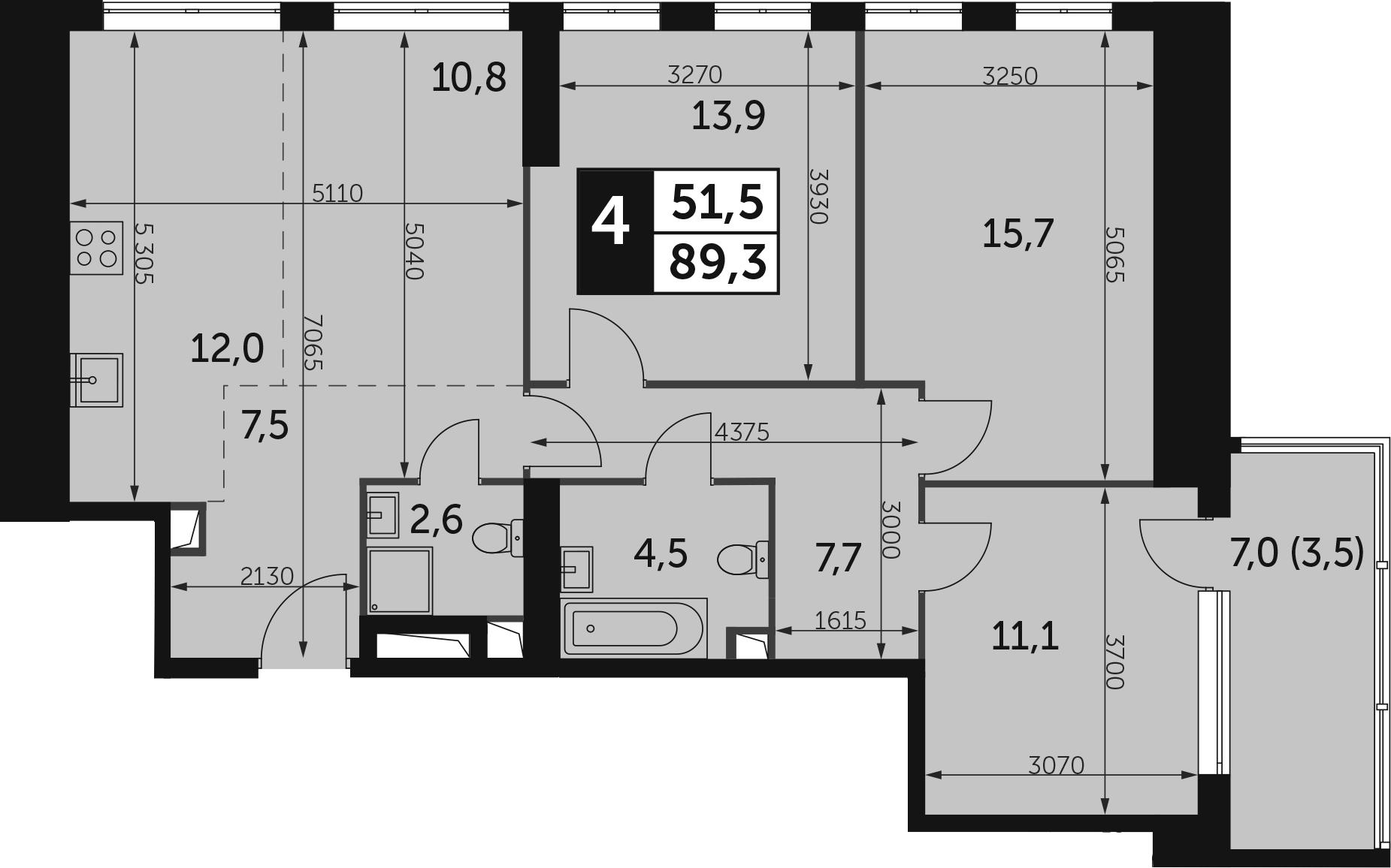 4-к.кв, 92.8 м²