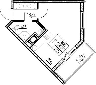 Студия, 25.06 м², 9 этаж