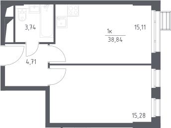 2-к.кв (евро), 38.84 м²