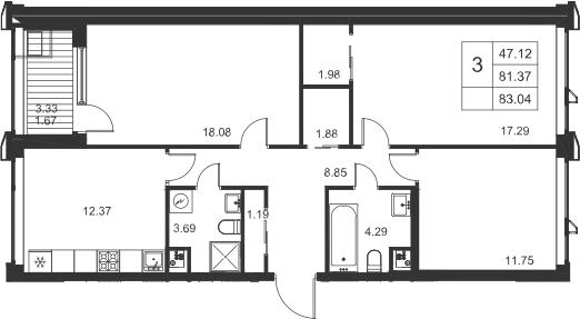 3-комнатная, 83.04 м²– 2