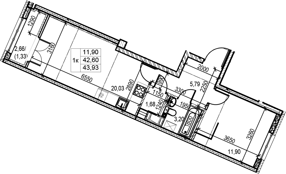2Е-комнатная, 43.93 м²– 2