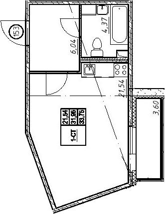 Студия, 35.55 м²
