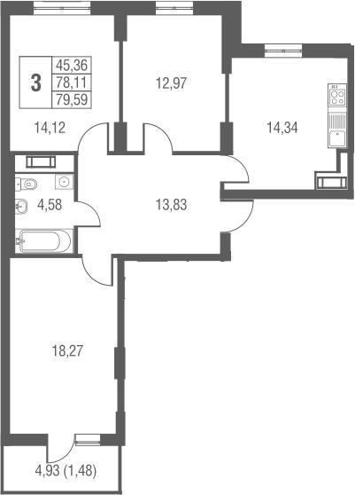 3-к.кв, 83.04 м²