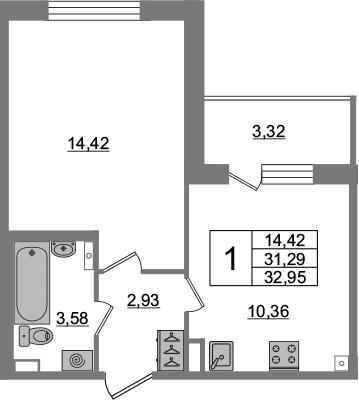 1-к.кв, 31.29 м², 3 этаж