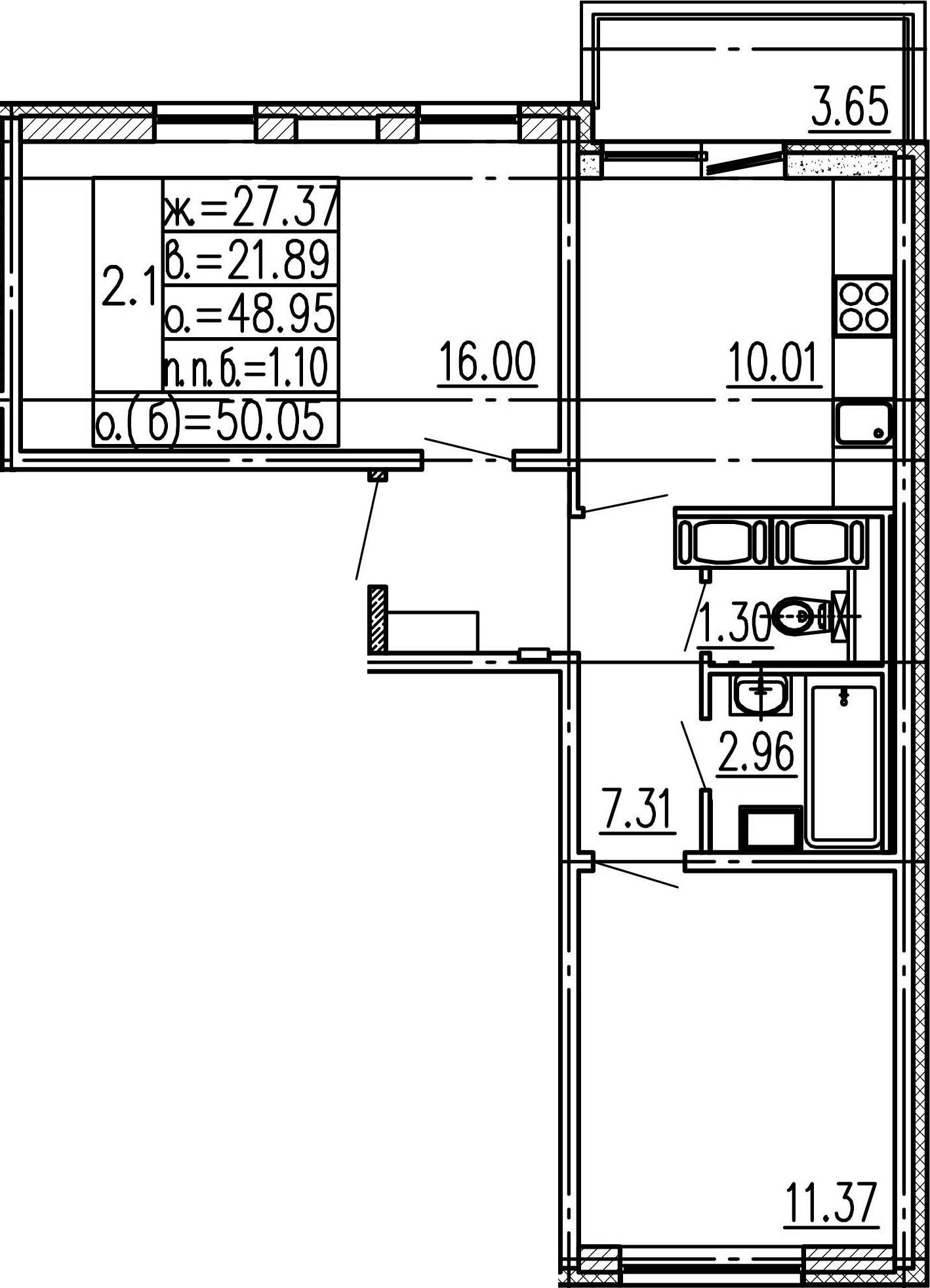 2-к.кв, 48.95 м², 17 этаж
