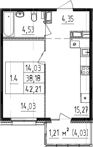2Е-комнатная, 38.18 м²– 2