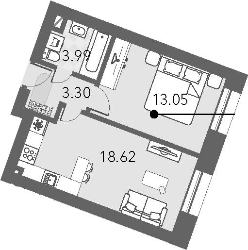 2-к.кв (евро), 38.96 м²