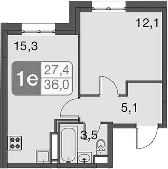 2-к.кв (евро), 36 м²