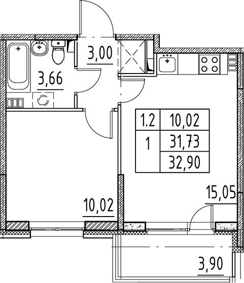 2Е-комнатная, 31.73 м²– 2