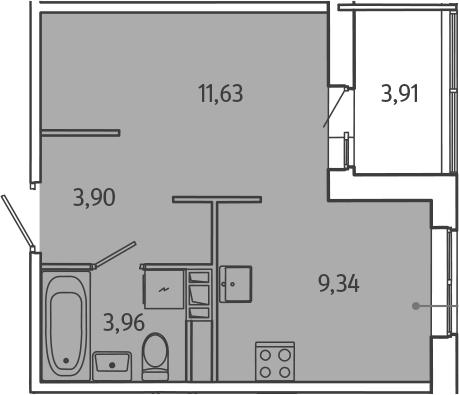 1-к.кв, 32.75 м²