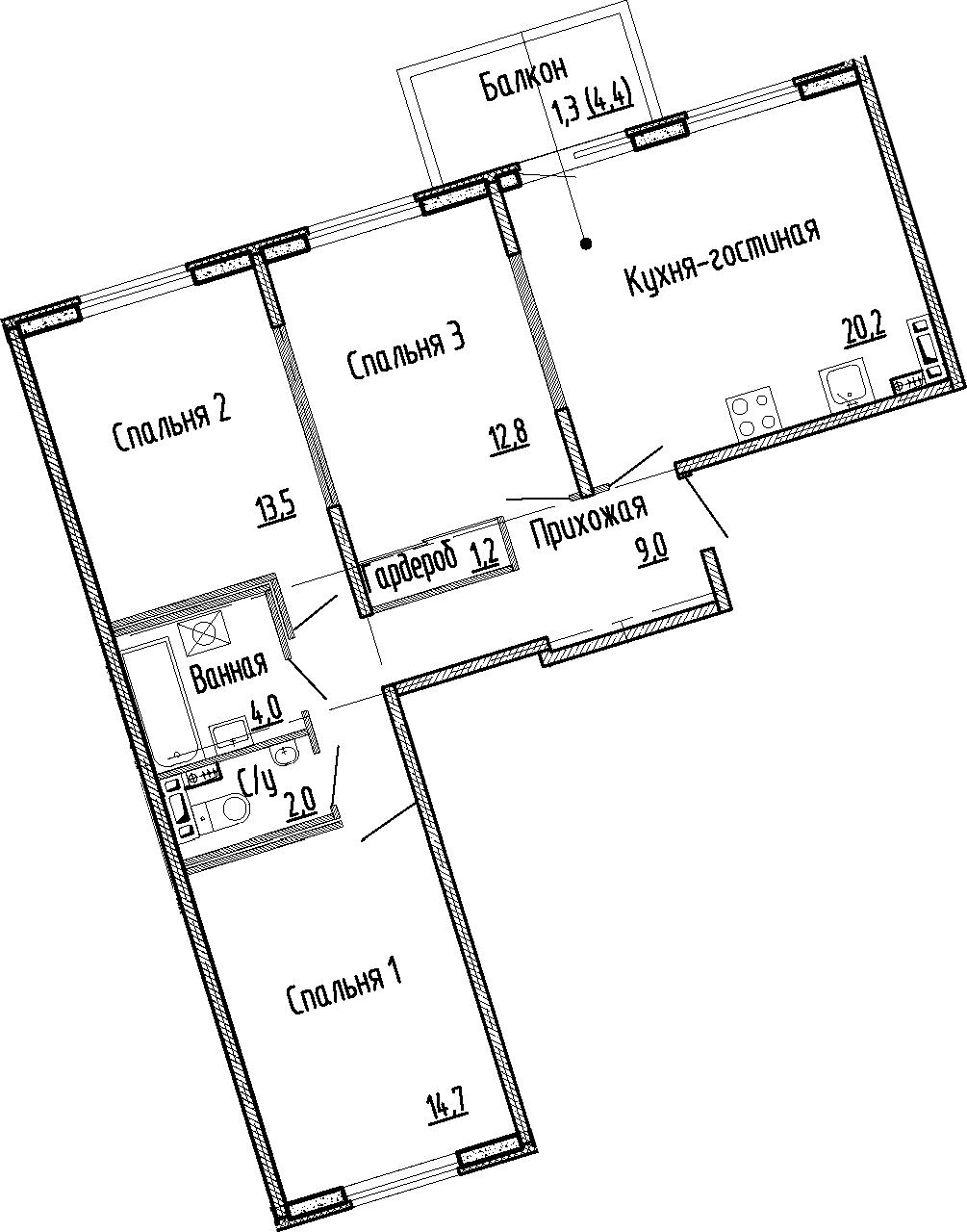 4Е-комнатная, 77.4 м²– 2