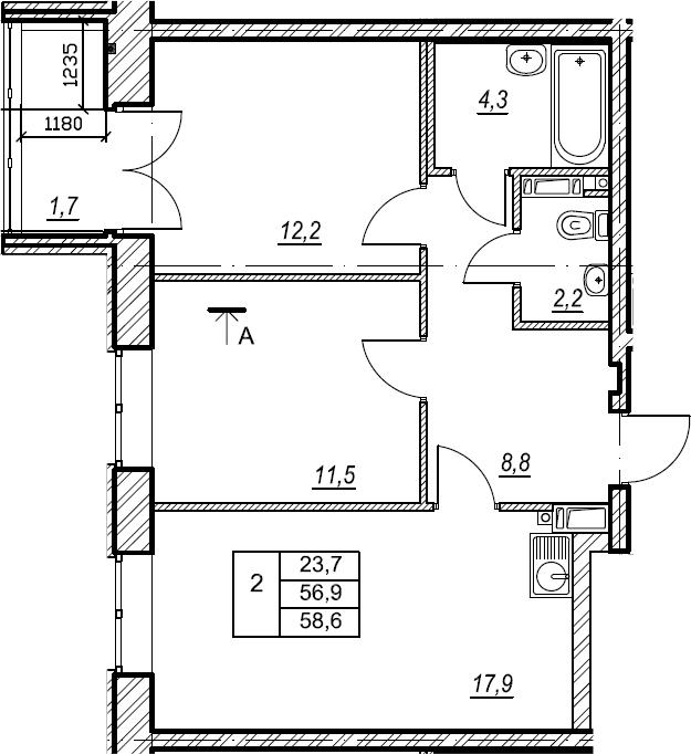 2-к.кв, 58.7 м², 6 этаж