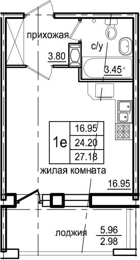 Студия, 27.18 м²– 2