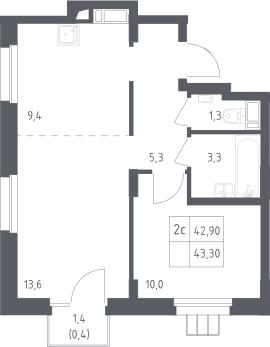 2Е-комнатная, 43.3 м²– 2