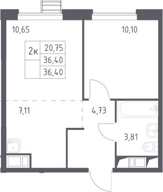 2Е-комнатная, 36.4 м²– 2