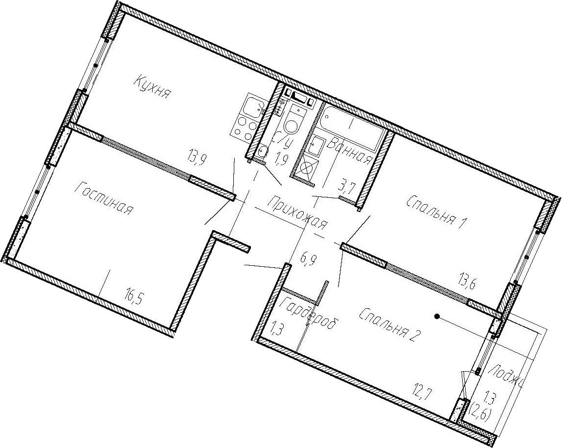 3-к.кв, 73.1 м²