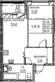 2Е-комнатная, 38.19 м²– 2