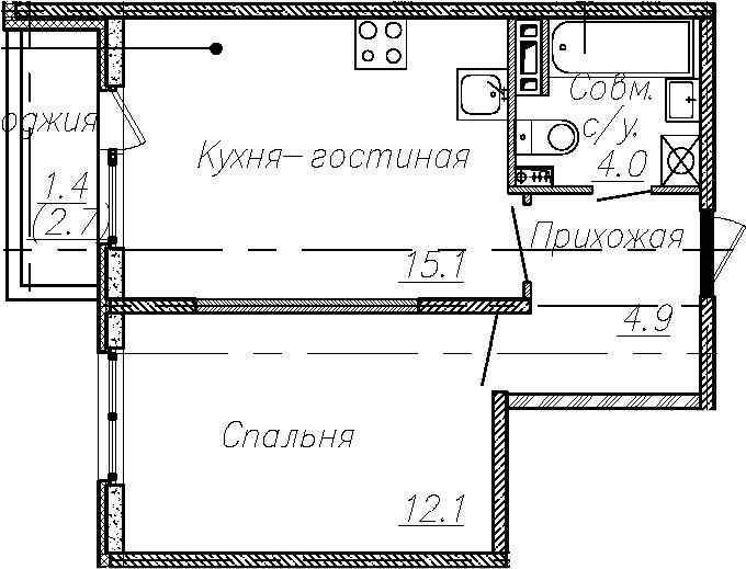 2Е-к.кв, 36.1 м², 4 этаж