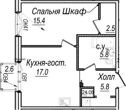 2-к.кв (евро), 49.17 м²