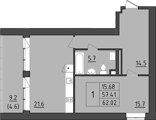 2Е-к.кв, 66.61 м²