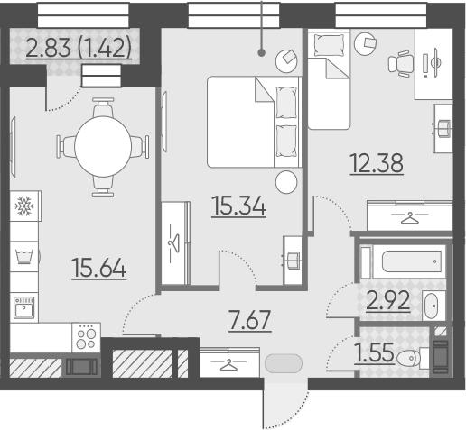 3Е-к.кв, 56.92 м²