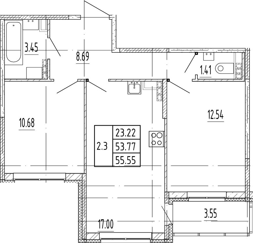 3Е-комнатная, 53.77 м²– 2