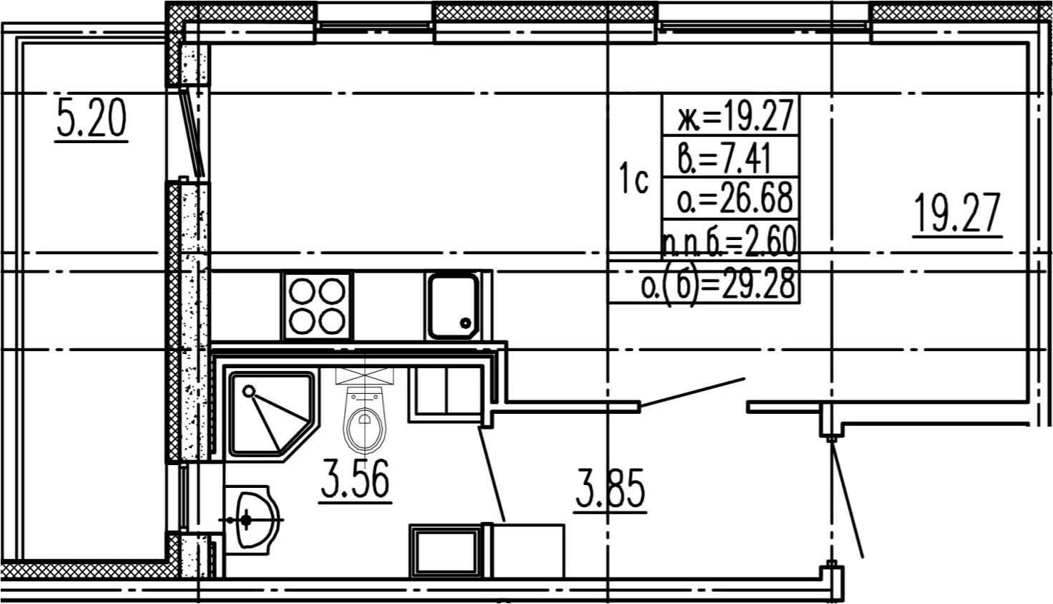 Студия, 26.68 м²– 2