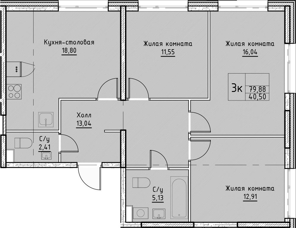 4Е-комнатная квартира, 79.88 м², 2 этаж – Планировка