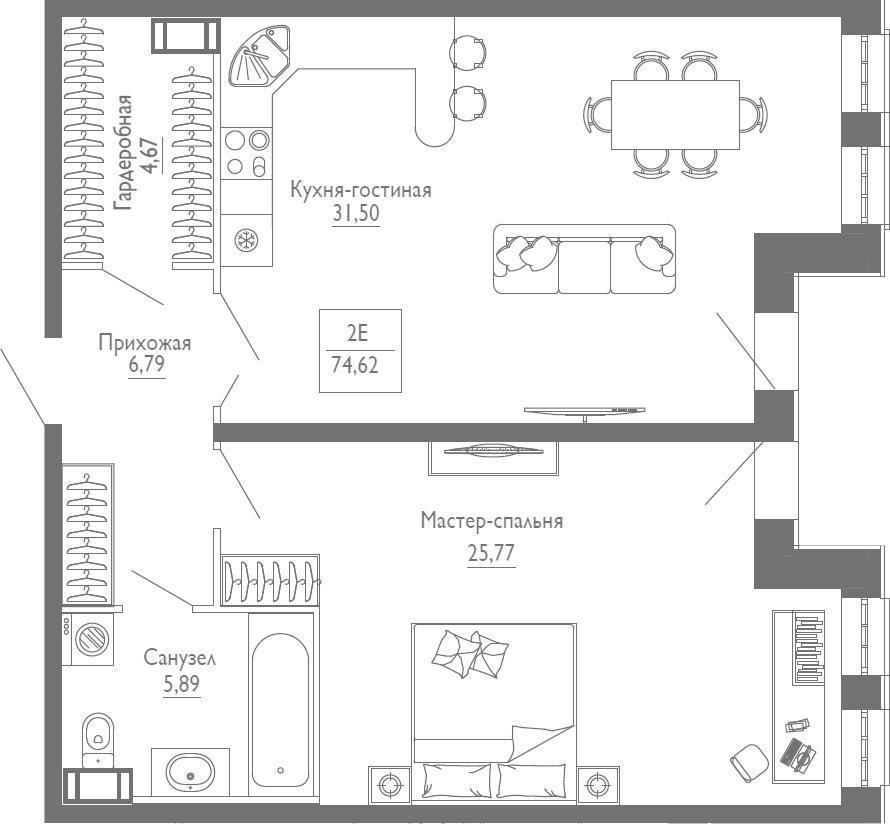 2Е-комнатная, 74.62 м²– 2