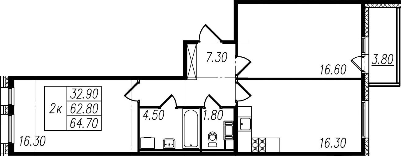 2-комнатная квартира, 62.8 м², 10 этаж – Планировка