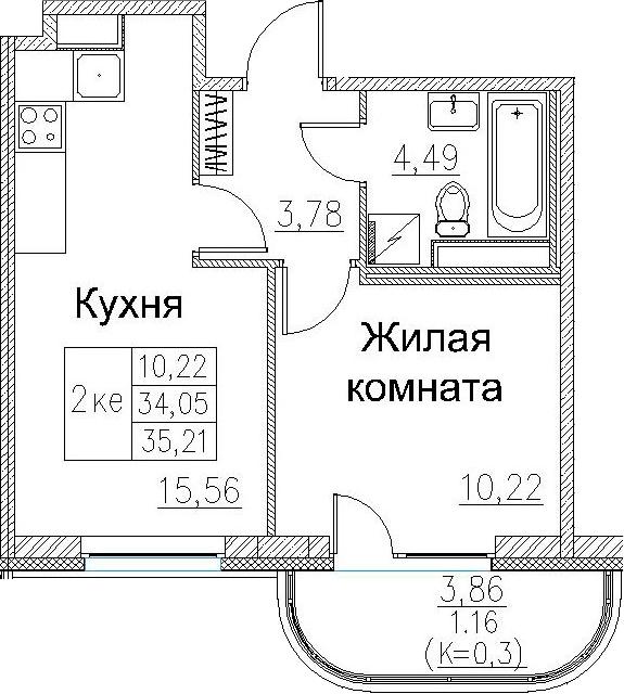 2-к.кв (евро), 36.37 м²