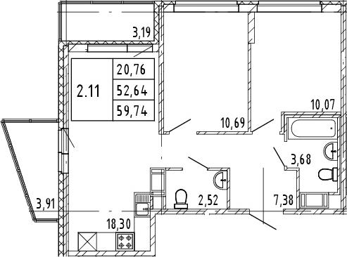 3Е-комнатная квартира, 52.64 м², 8 этаж – Планировка