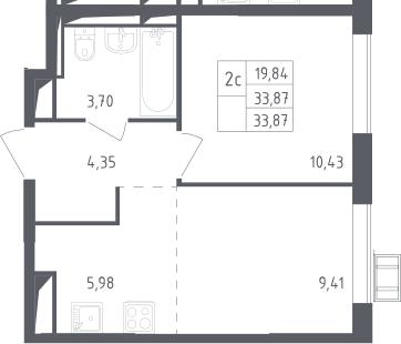 2Е-к.кв, 33.87 м², 2 этаж