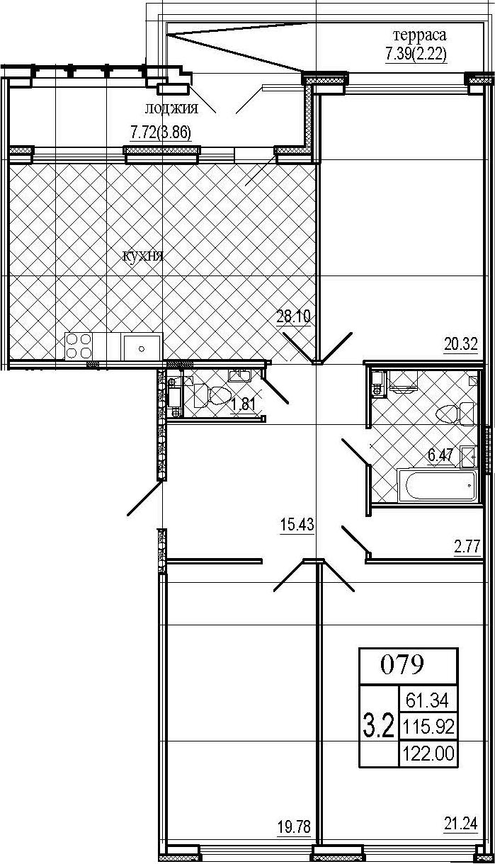 4Е-к.кв, 122 м², 7 этаж