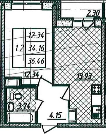 1-комнатная, 34.16 м²– 2