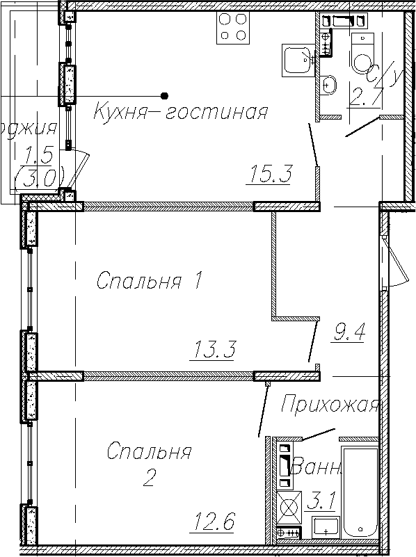 3Е-к.кв, 56.4 м², 2 этаж