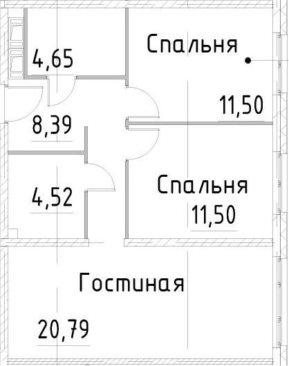 3Е-к.кв, 61.34 м²