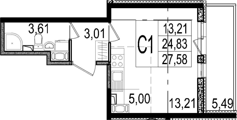 Студия, 24.83 м²– 2