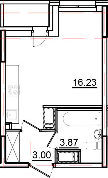Студия, 24.07 м², 11 этаж