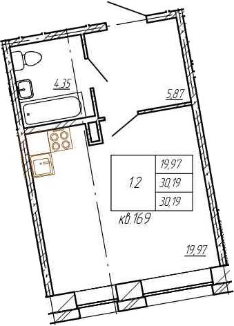 Студия, 30.19 м²
