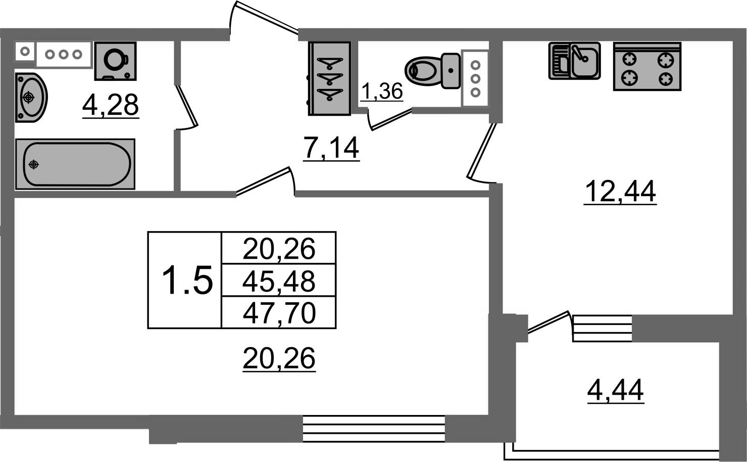 1-к.кв, 49.92 м²