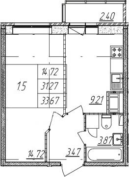 1-к.кв, 31.27 м², 2 этаж