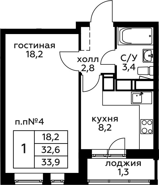1-комнатная, 33.9 м²– 2
