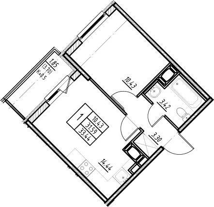 2Е-к.кв, 31.59 м²