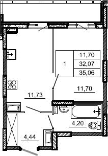 1-к.кв, 35.06 м², от 4 этажа