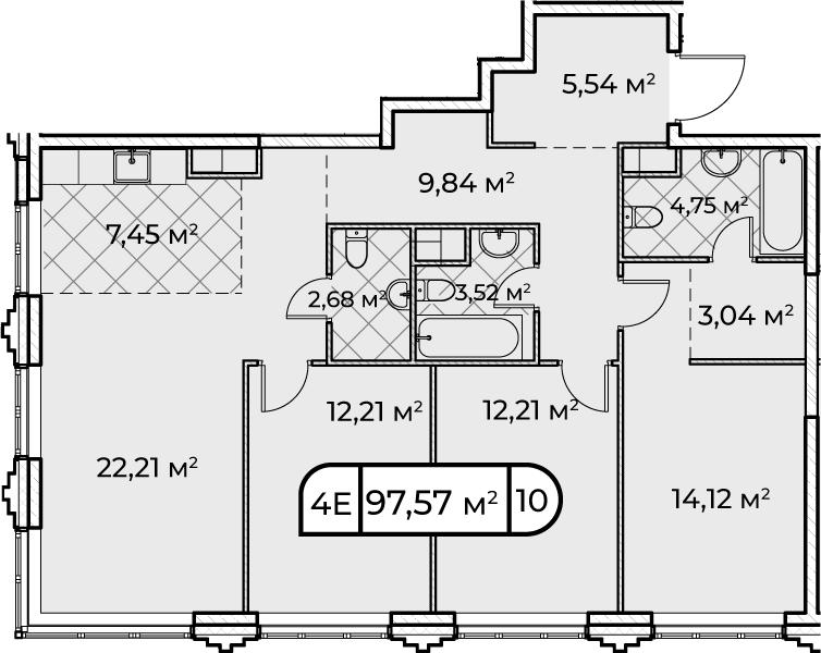 4Е-комнатная, 97.57 м²– 2