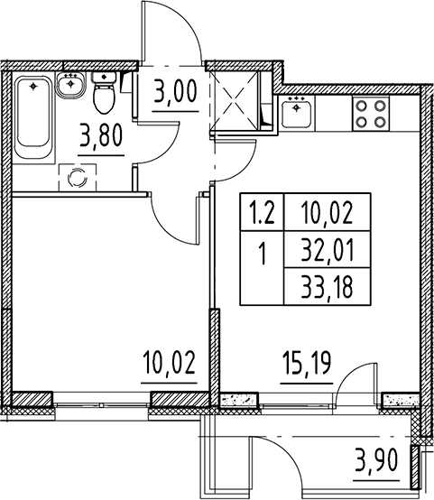 2Е-комнатная, 32.01 м²– 2